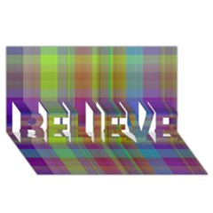 Plaid, Cool BELIEVE 3D Greeting Card (8x4)