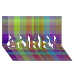 Plaid, Cool SORRY 3D Greeting Card (8x4)