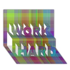 Plaid, Cool WORK HARD 3D Greeting Card (7x5)