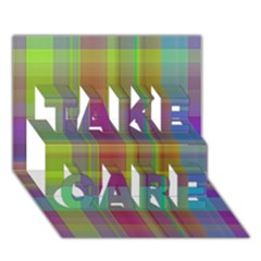 Plaid, Cool TAKE CARE 3D Greeting Card (7x5)