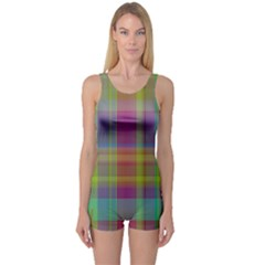 Plaid, Cool Women s Boyleg One Piece Swimsuits