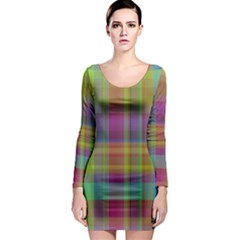 Plaid, Cool Long Sleeve Bodycon Dresses