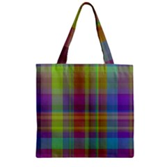 Plaid, Cool Zipper Grocery Tote Bags