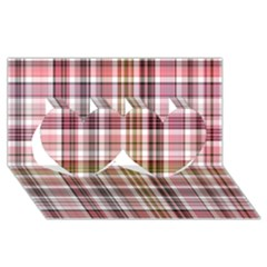 Plaid, Candy Twin Hearts 3D Greeting Card (8x4)