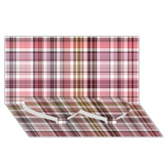 Plaid, Candy Twin Heart Bottom 3d Greeting Card (8x4)