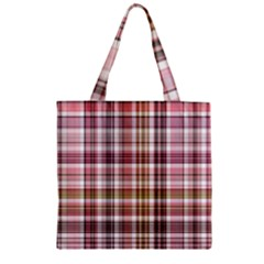 Plaid, Candy Zipper Grocery Tote Bags