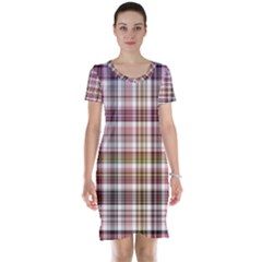 Plaid, Candy Short Sleeve Nightdresses