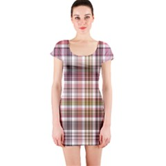 Plaid, Candy Short Sleeve Bodycon Dresses