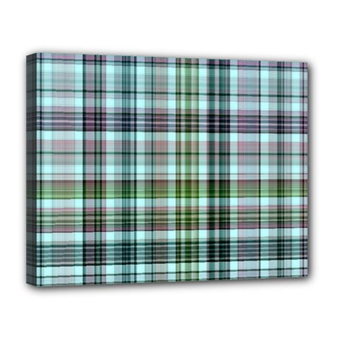 Plaid Ocean Canvas 14  X 11