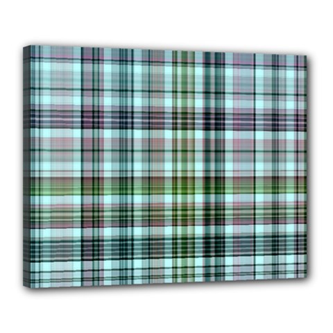 Plaid Ocean Canvas 20  X 16
