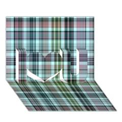 Plaid Ocean I Love You 3d Greeting Card (7x5)