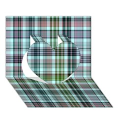 Plaid Ocean Heart 3d Greeting Card (7x5)