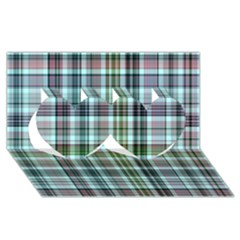 Plaid Ocean Twin Hearts 3D Greeting Card (8x4)