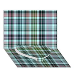 Plaid Ocean Heart Bottom 3d Greeting Card (7x5)