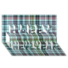 Plaid Ocean Happy New Year 3d Greeting Card (8x4)
