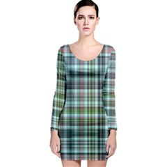 Plaid Ocean Long Sleeve Bodycon Dresses