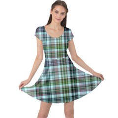 Plaid Ocean Cap Sleeve Dresses