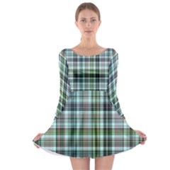 Plaid Ocean Long Sleeve Skater Dress