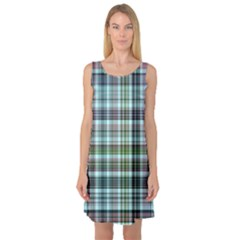 Plaid Ocean Sleeveless Satin Nightdresses