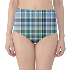 Plaid Ocean High-Waist Bikini Bottoms