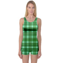 Plaid Forest Women s Boyleg One Piece Swimsuits