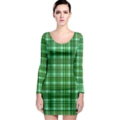 Plaid Forest Long Sleeve Bodycon Dresses