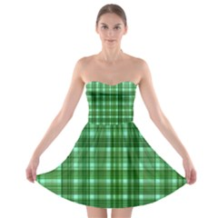 Plaid Forest Strapless Bra Top Dress