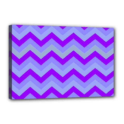 Chevron Blue Canvas 18  X 12