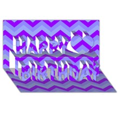 Chevron Blue Happy Birthday 3D Greeting Card (8x4)