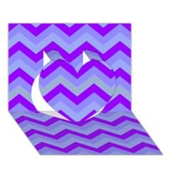Chevron Blue Heart 3D Greeting Card (7x5)