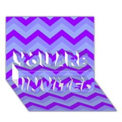 Chevron Blue YOU ARE INVITED 3D Greeting Card (7x5)