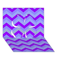 Chevron Blue Clover 3d Greeting Card (7x5)