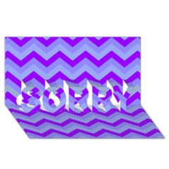 Chevron Blue Sorry 3d Greeting Card (8x4)