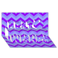 Chevron Blue Best Wish 3D Greeting Card (8x4)