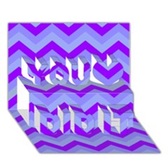 Chevron Blue You Did It 3D Greeting Card (7x5)