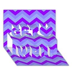Chevron Blue Get Well 3d Greeting Card (7x5)