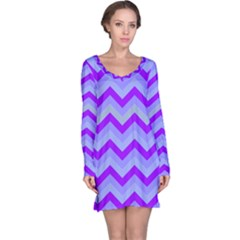 Chevron Blue Long Sleeve Nightdresses