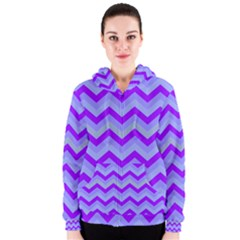 Chevron Blue Women s Zipper Hoodies