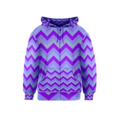 Chevron Blue Kids Zipper Hoodies