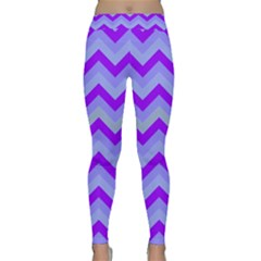 Chevron Blue Yoga Leggings