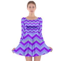Chevron Blue Long Sleeve Skater Dress