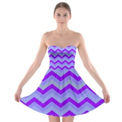 Chevron Blue Strapless Bra Top Dress
