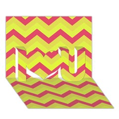Chevron Yellow Pink I Love You 3d Greeting Card (7x5)