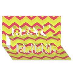 Chevron Yellow Pink Best Friends 3D Greeting Card (8x4)