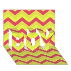 Chevron Yellow Pink BOY 3D Greeting Card (7x5)