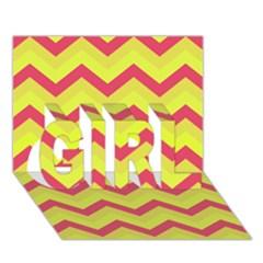 Chevron Yellow Pink Girl 3d Greeting Card (7x5)