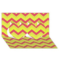 Chevron Yellow Pink Twin Hearts 3D Greeting Card (8x4)