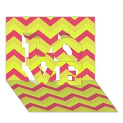 Chevron Yellow Pink Love 3d Greeting Card (7x5)