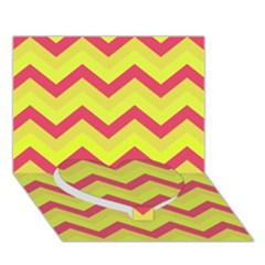 Chevron Yellow Pink Heart Bottom 3d Greeting Card (7x5)