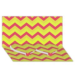 Chevron Yellow Pink Twin Heart Bottom 3D Greeting Card (8x4)